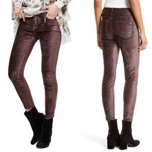 New Free People Cyndi Mulberry Velvet Skinny Pants